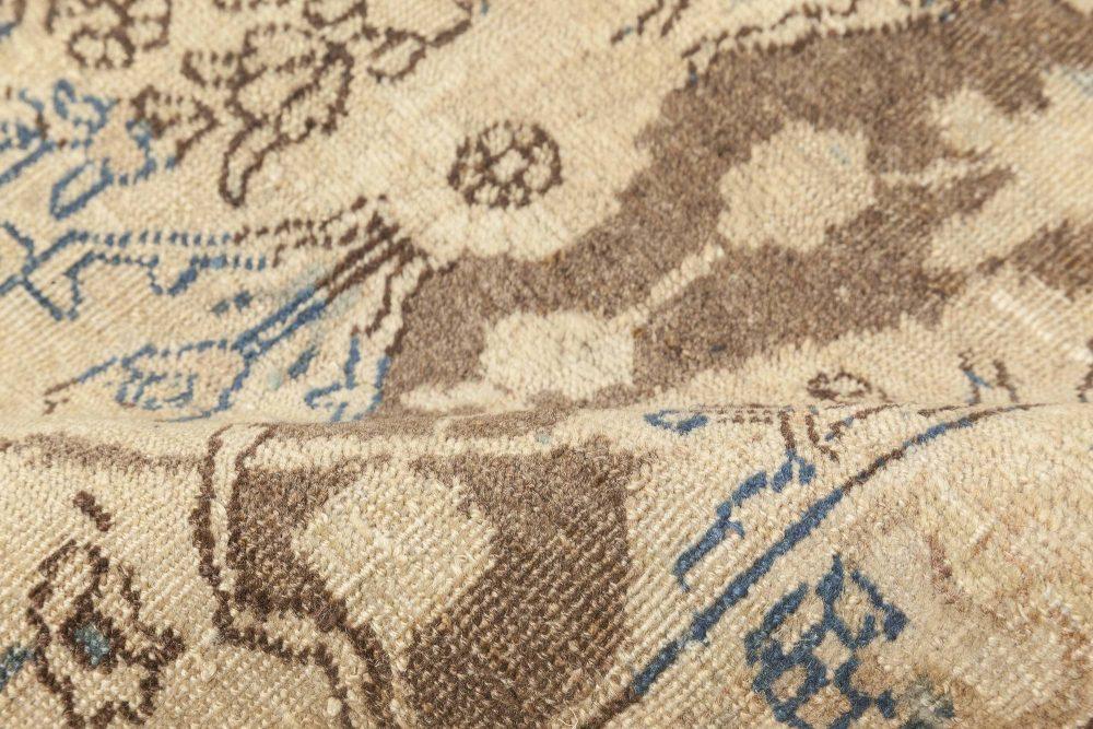 Antique Persian Tabriz Beige, Brown & Blue Handwoven Wool Rug BB6895