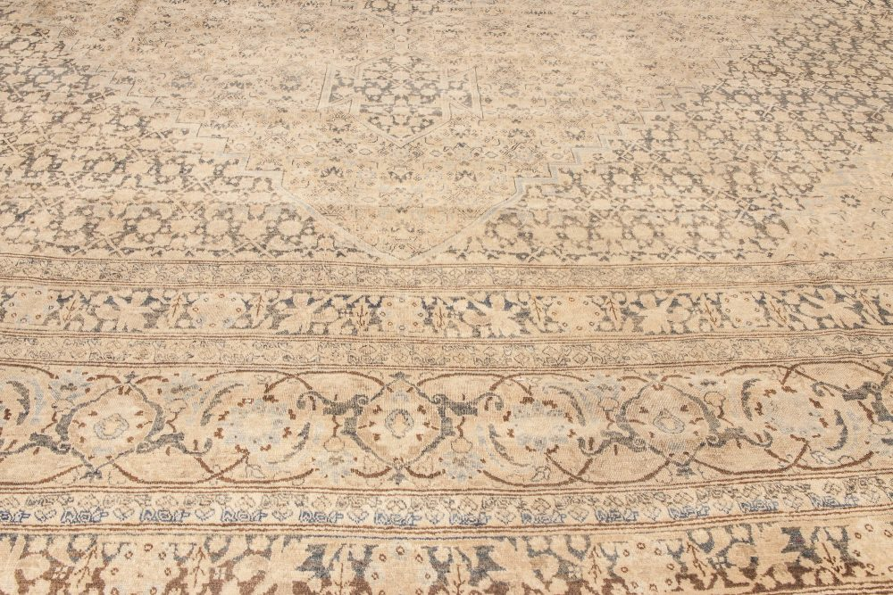 Antique Persian Tabriz Camel and Brown Handwoven Wool Carpet BB6595