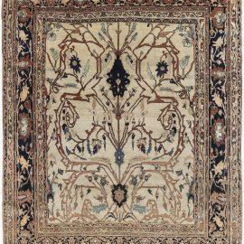 19th Century Persian Tabriz Cream, Brown, Gray and Black Rug BB6898