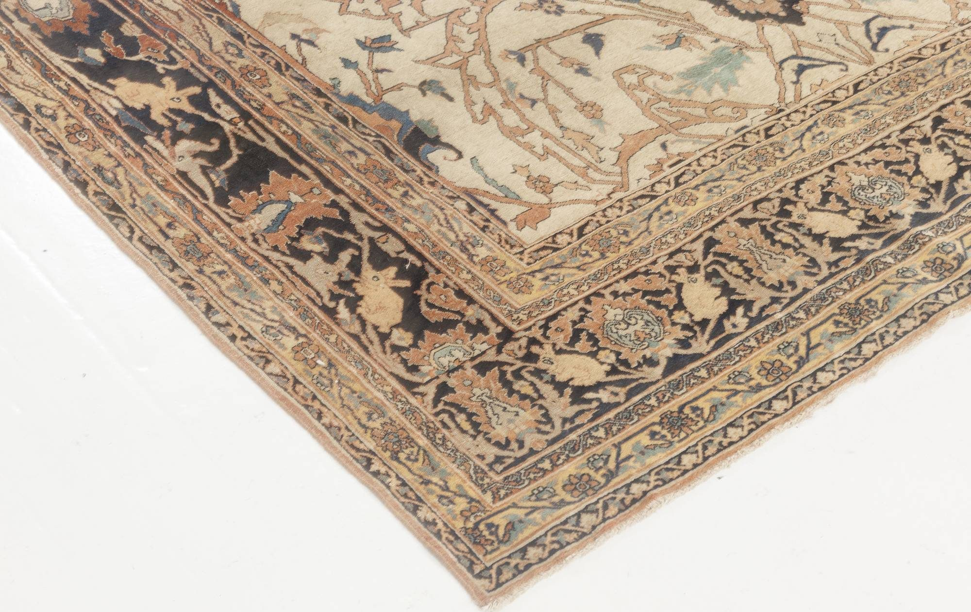 19th Century Persian Tabriz Cream, Brown, Gray and Black Rug BB6898