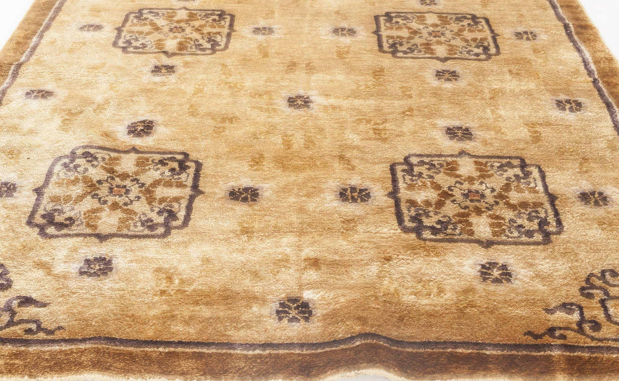 Silk Chinese Sandy Beige, Camel and Anthracite Handwoven Wool Rug BB6891