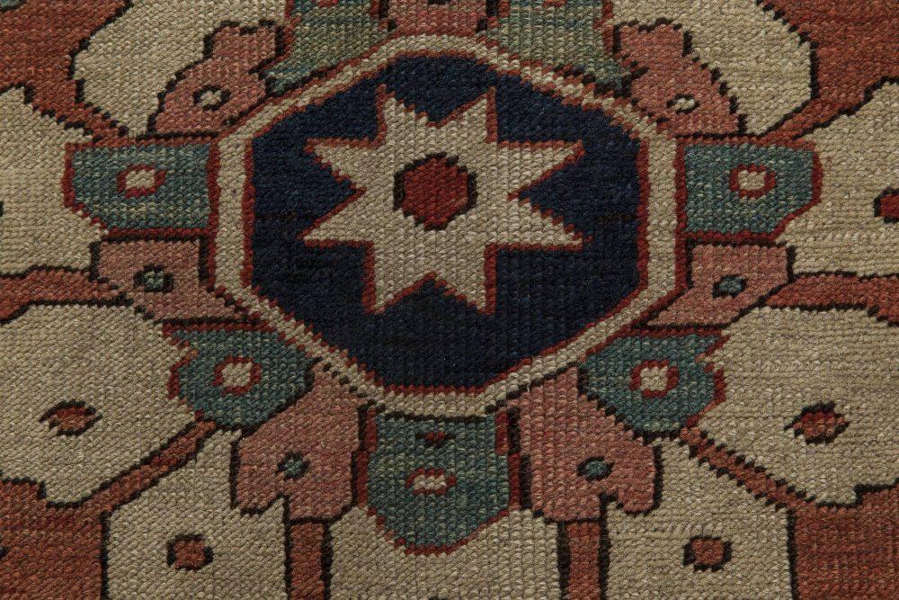 Rusty, Beige, Pale Green and Brown Persian Heriz Carpet BB6847