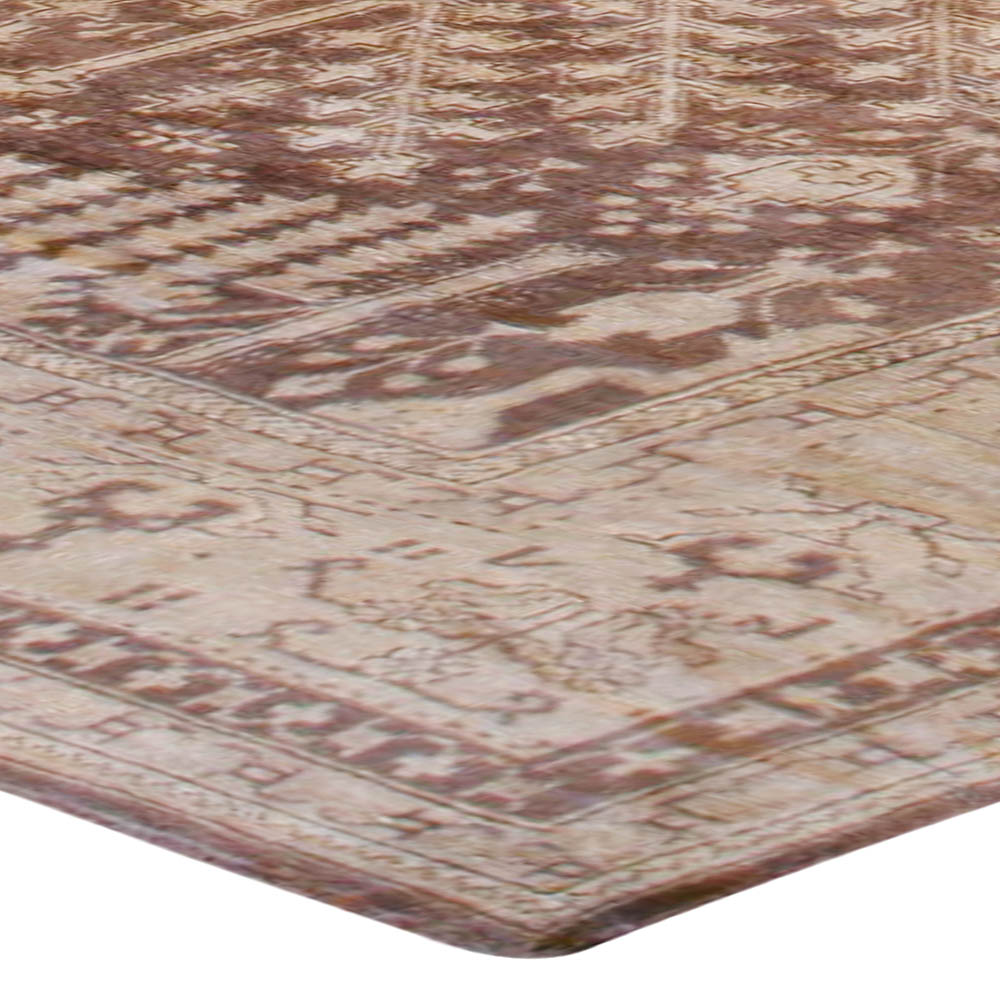 Large Antique Turkish Oushak Floral Brown and Sand Handwoven Rug BB6730