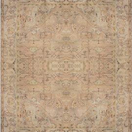 Antique Turkish Oushak Light Rose Handwoven Wool Rug BB6770