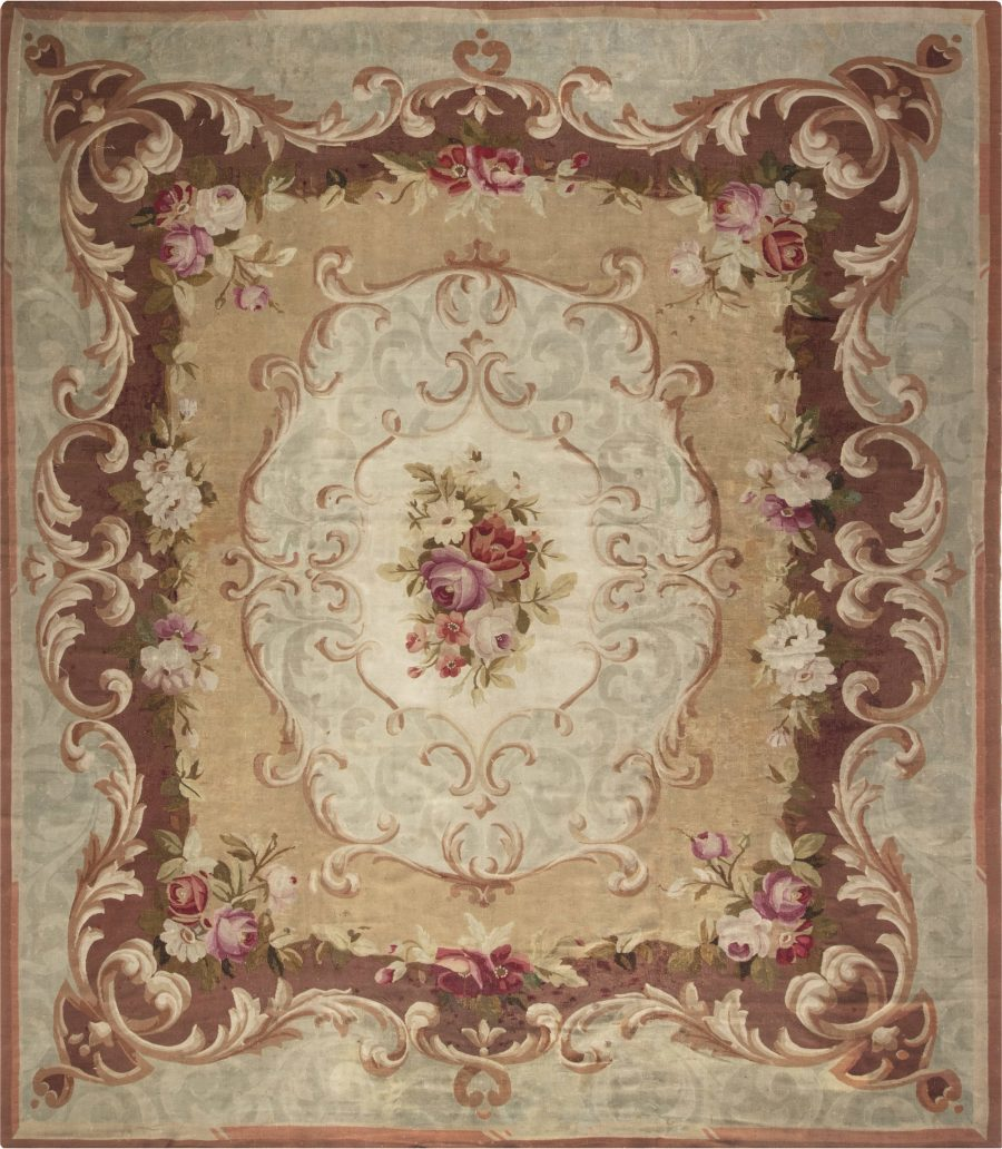 ANTIQUE FRENCH AUBUSSON RUG BB6646