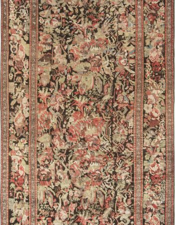 Antique Shirvan Blue, Brown, Gold, Green, Pink and Red Wool Rug BB7152