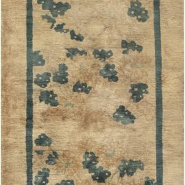 Chinese Sandy Beige & Teal Blue Handwoven Runner (Size Adjusted) BB6867