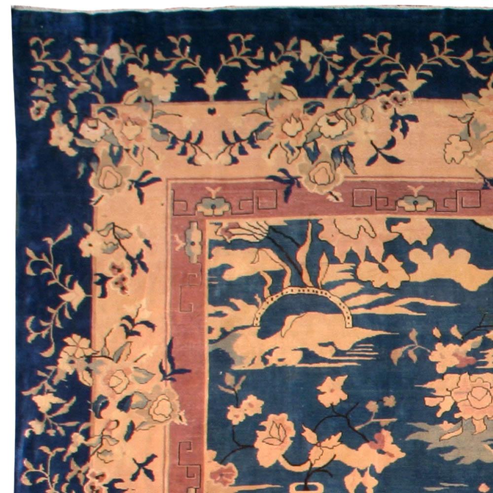 Vintage Chinese Botanic Blue, Gold & Beige Wool Carpet BB6697