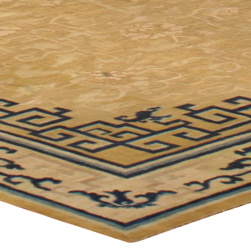 Large 19th Century Chinese Gold and Indigo Blue Carpet BB6741