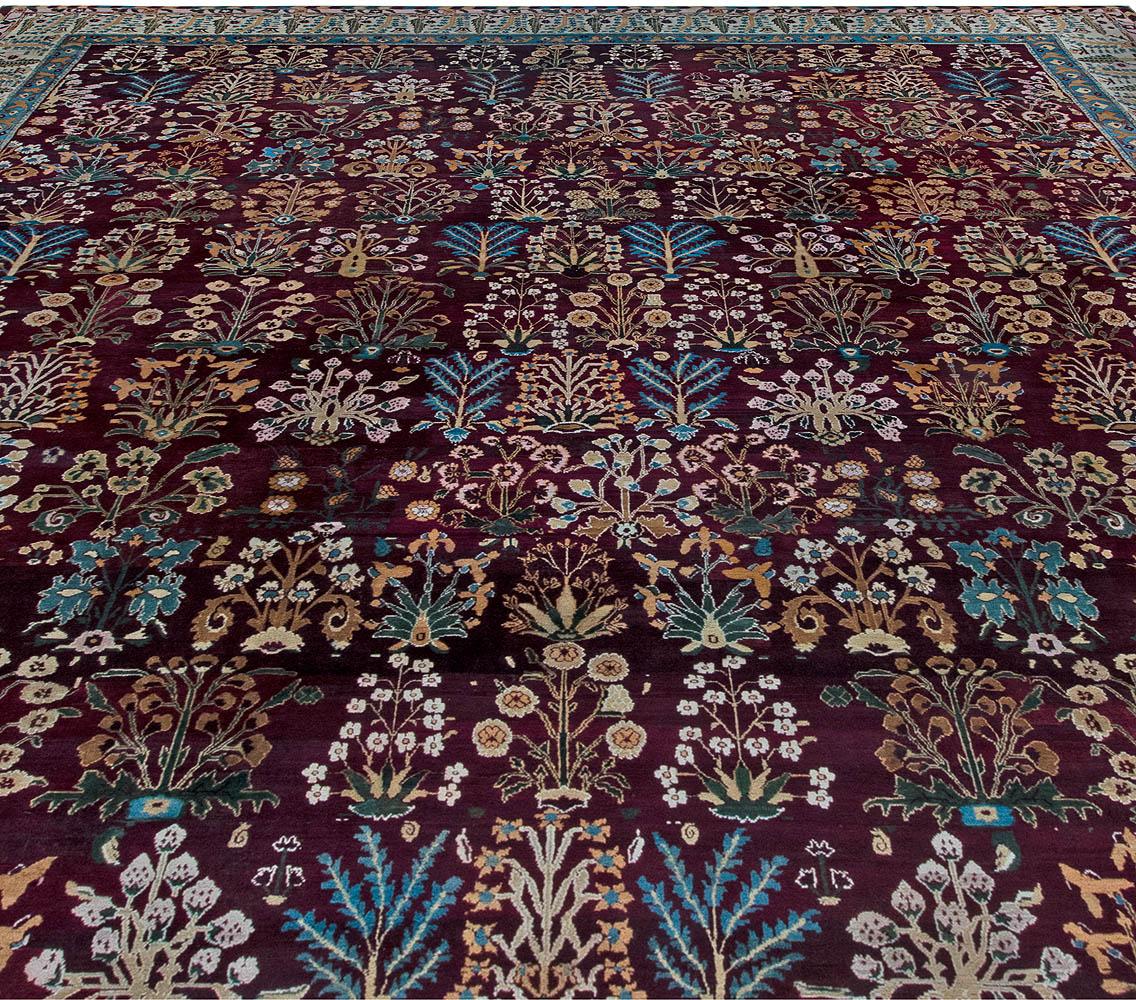 Indian Amritsar Botanic Burgundy and Light Azure Handwoven Wool Rug BB6856