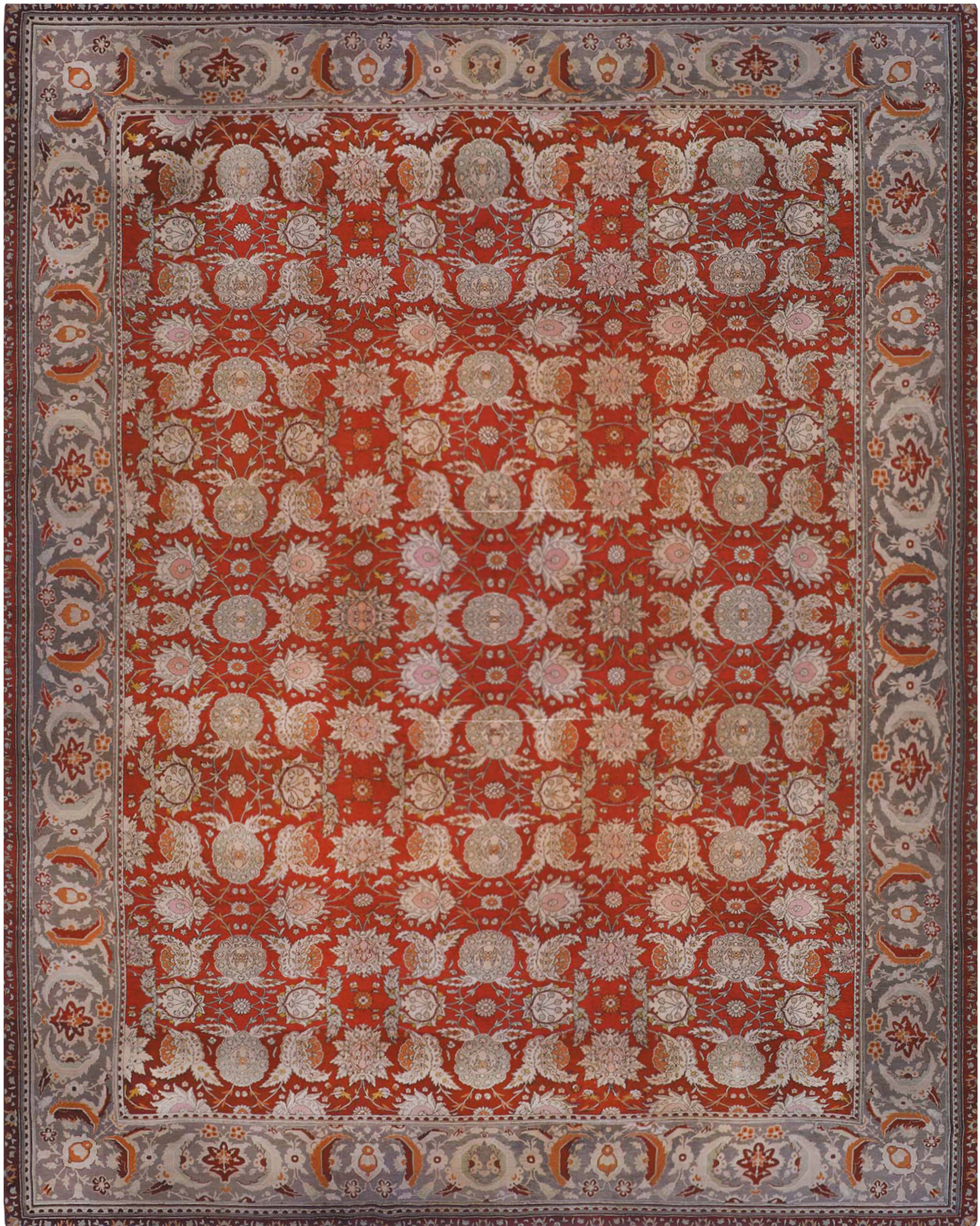 19th Century Turkish Hereke Red Handwoven Wool Carpet BB6684