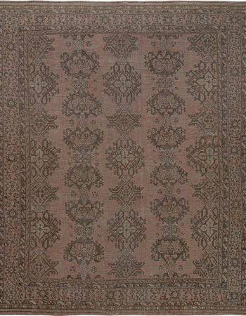 Antique Turkish Oushak Orange and Pale Pink Handwoven Wool Rug BB7174