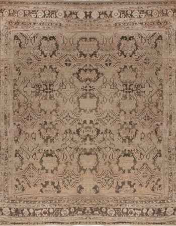 Antique Turkish Oushak Salmon & Light Gray Rug BB6897