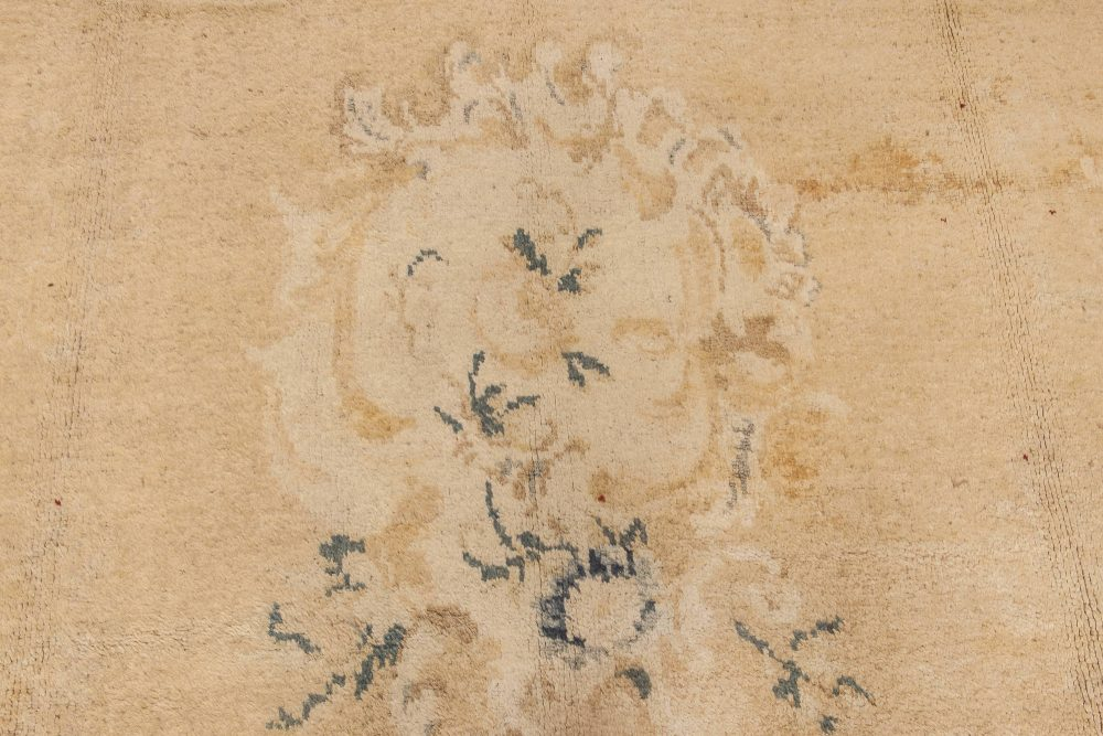 Antique Turkish Angora Oushak Beige and Ivory Hand Knotted Mohair Rug BB6615