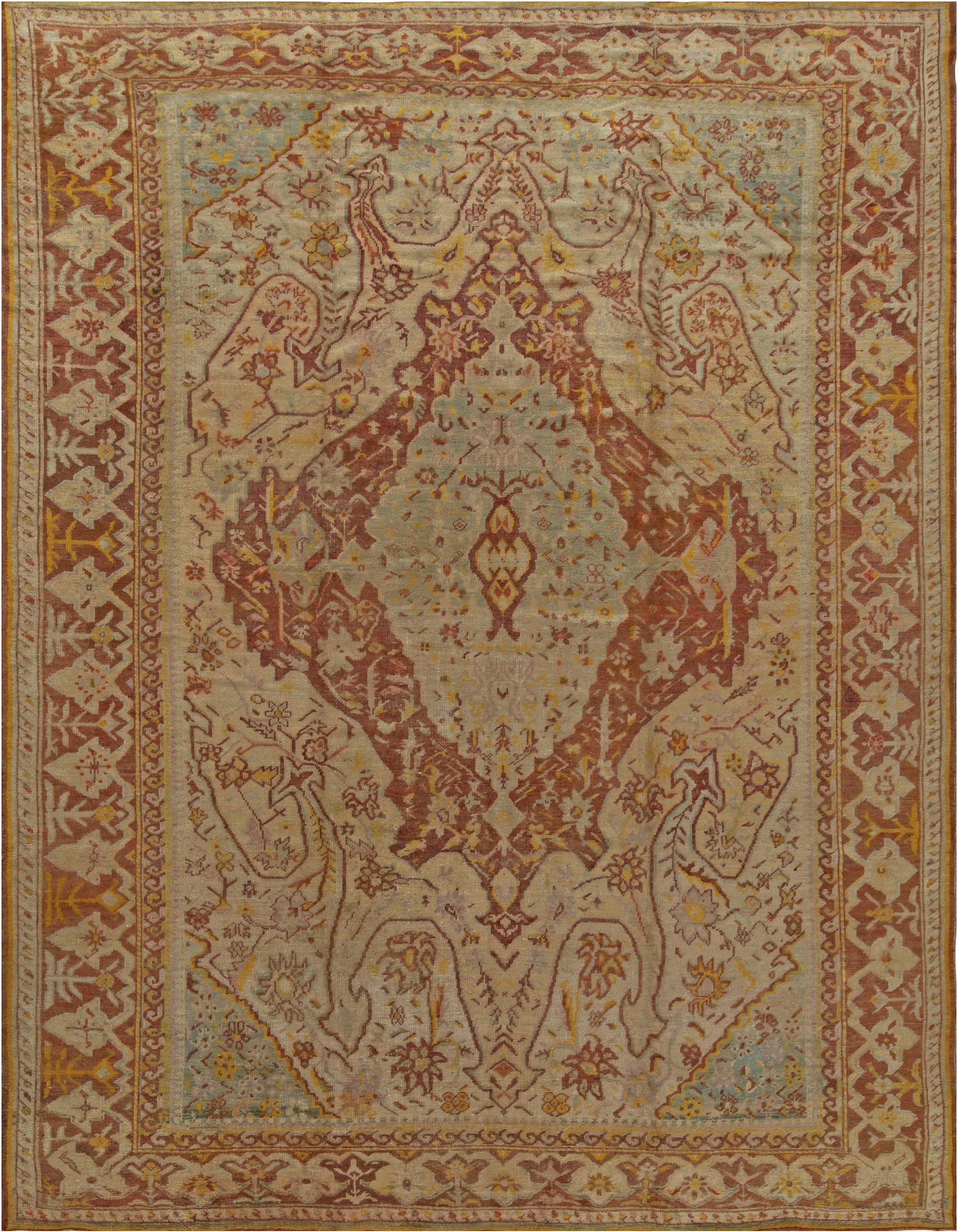19th Century Turkish Oushak Handwoven Wool Rug BB6830