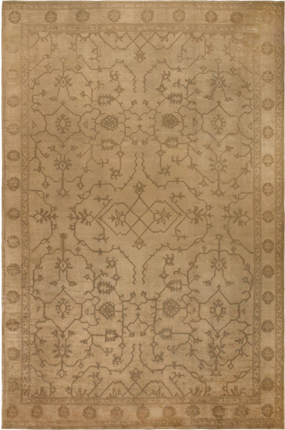 Oversized Antique Turkish Oushak Botanic Brown Handwoven Wool Rug BB6785