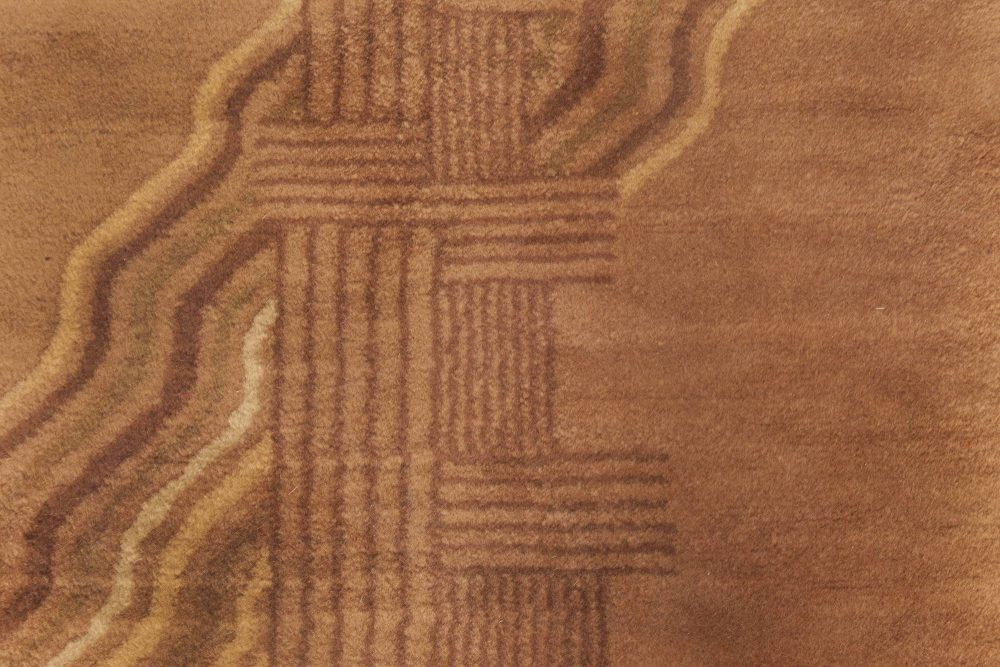 Vintage Chinese Art Deco Warm Brown Handwoven Wool Rug BB6634