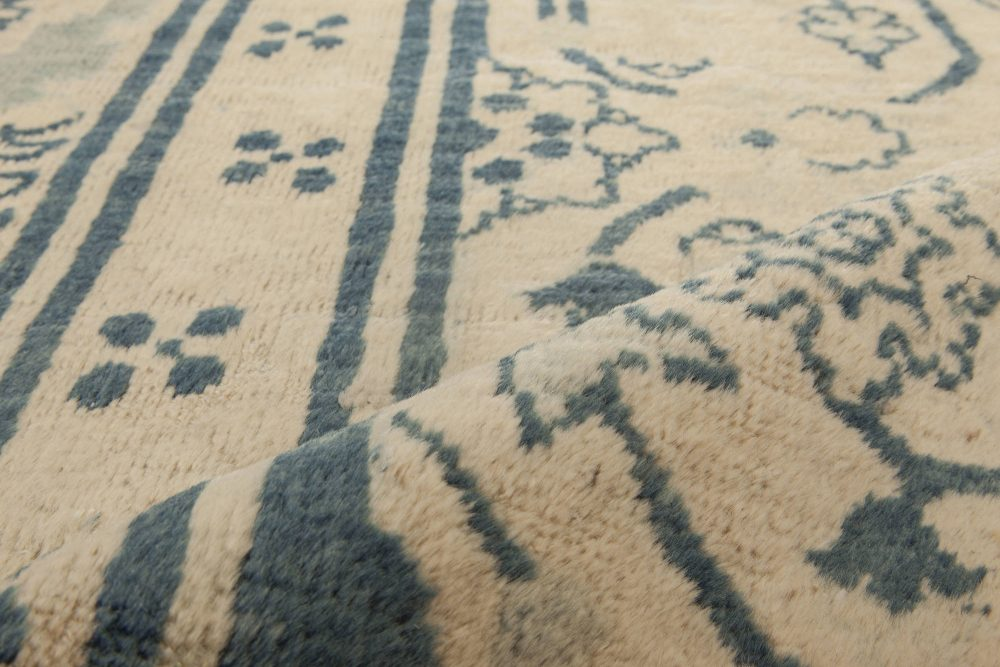 Vintage Chinese Blue Handwoven Wool Rug BB6848
