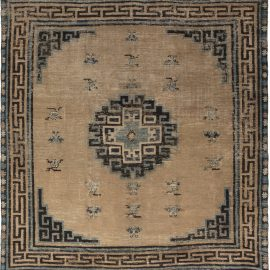 Antique Chinese Mongolian Beige, Dark Brown and Teal Rug BB6602