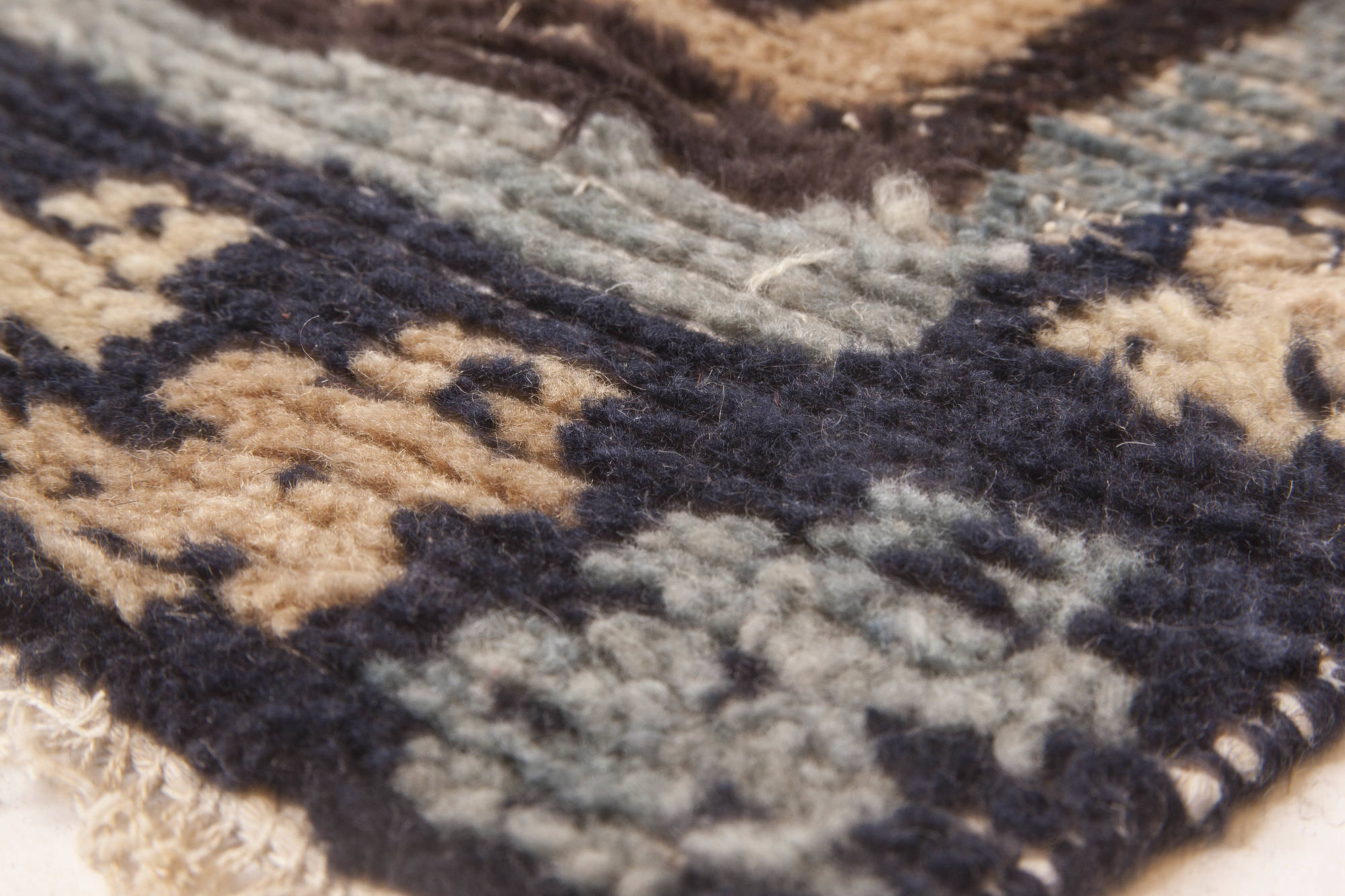Dark Brown And Teal Handwoven Wool Rug