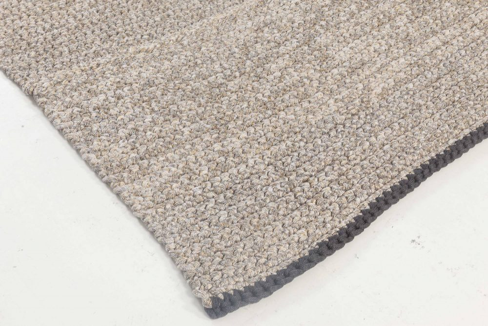 Contemporary Golden and Gray Hand Knotted Wool and Silk Rug N11844