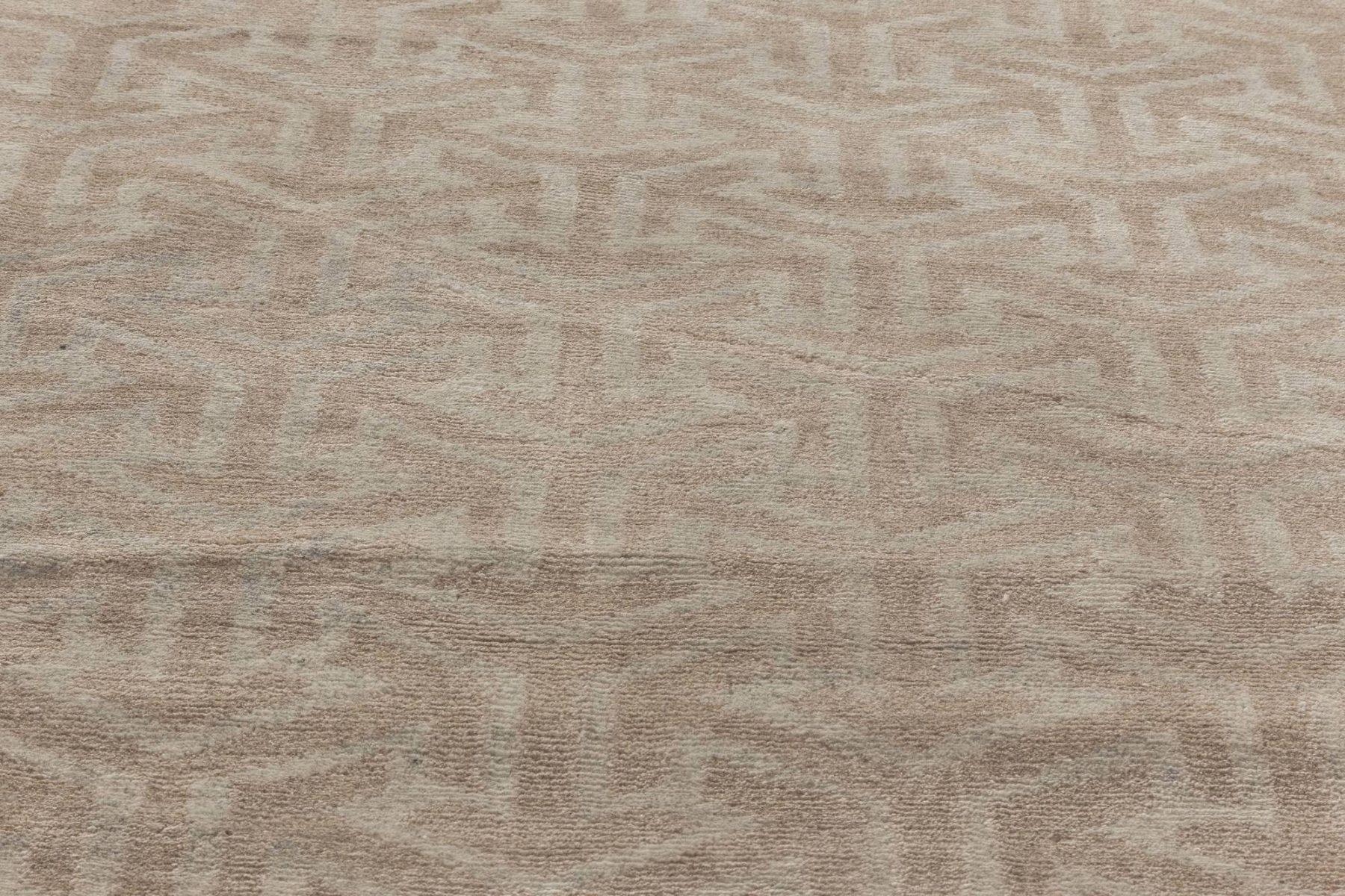 Modern Geometric Cream Tibetan Terra Rug in Natural Wool N11808