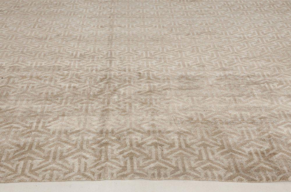 Modern Geometric Cream Tibetan Terra Rug in Natural Wool N11808