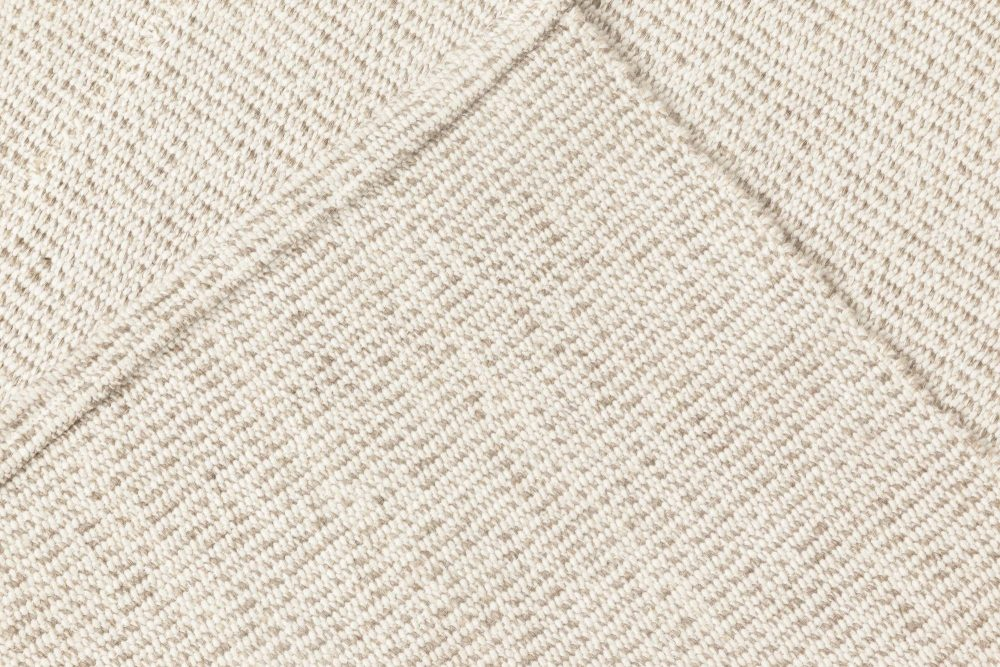 Contemporary Sandy Beige Flat-Woven Wool Kilim Rug N11812