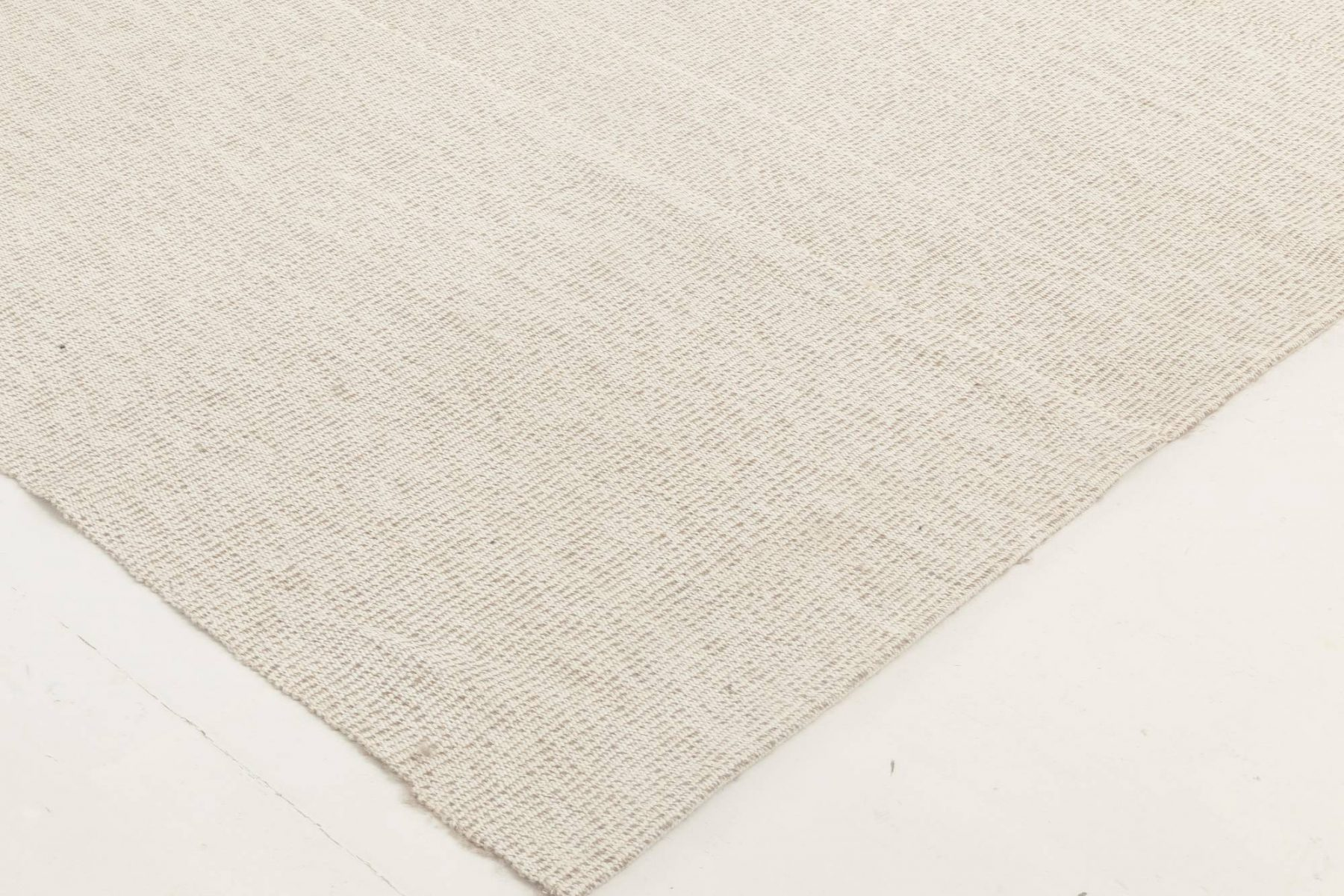 Contemporary Sandy Beige Flat-Woven Wool Kilim Rug N11812