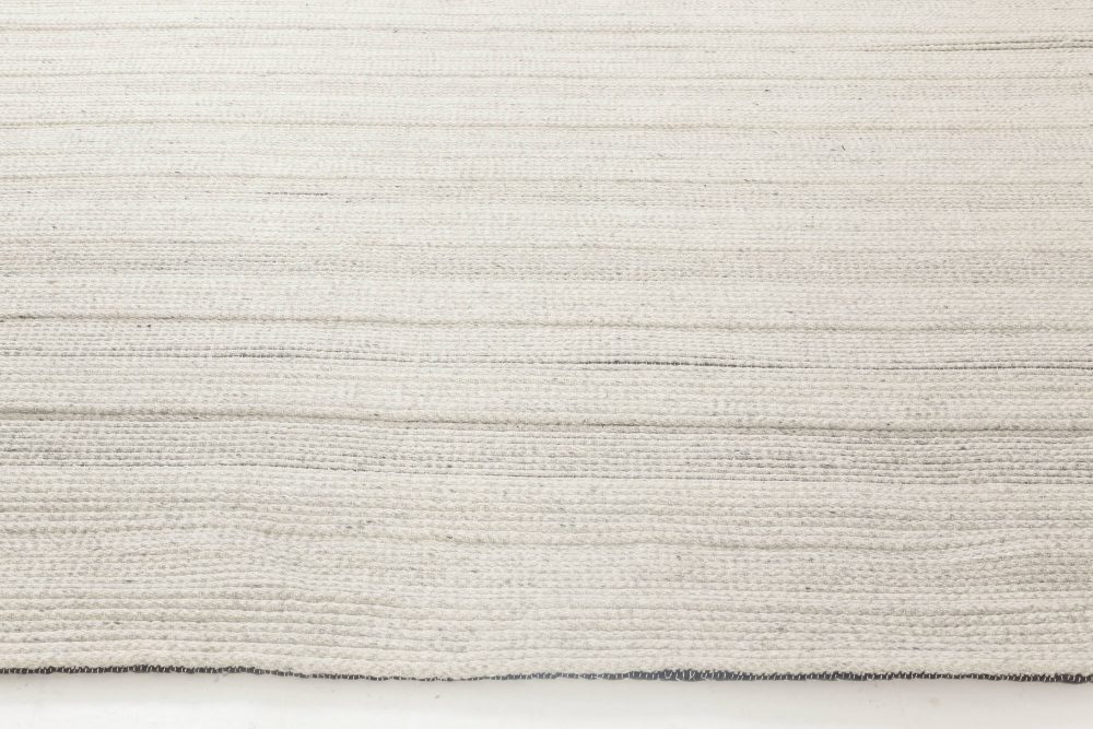 Gray Bauer Collection Minimalist White and Black Hand Knotted Rug N11835