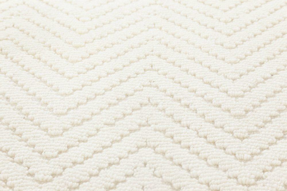 Bauer Collection Herringbone Design Geometric White Wool Rug II N11838