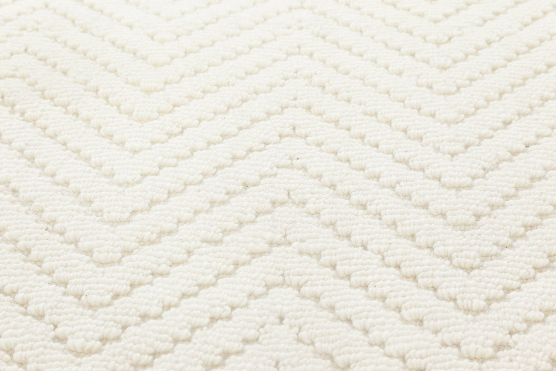 Bauer Collection Herringbone Design Geometric White Wool Rug II N11838