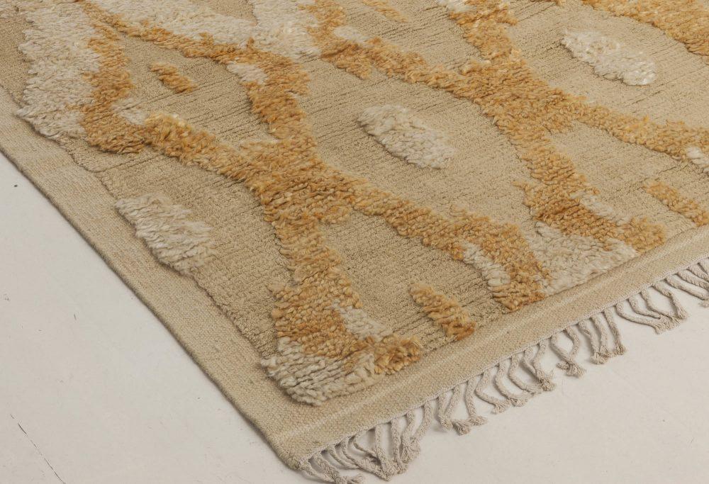 Modern Kasuri Beige, Gold & Orange Hand Knotted Wool Rug N11803