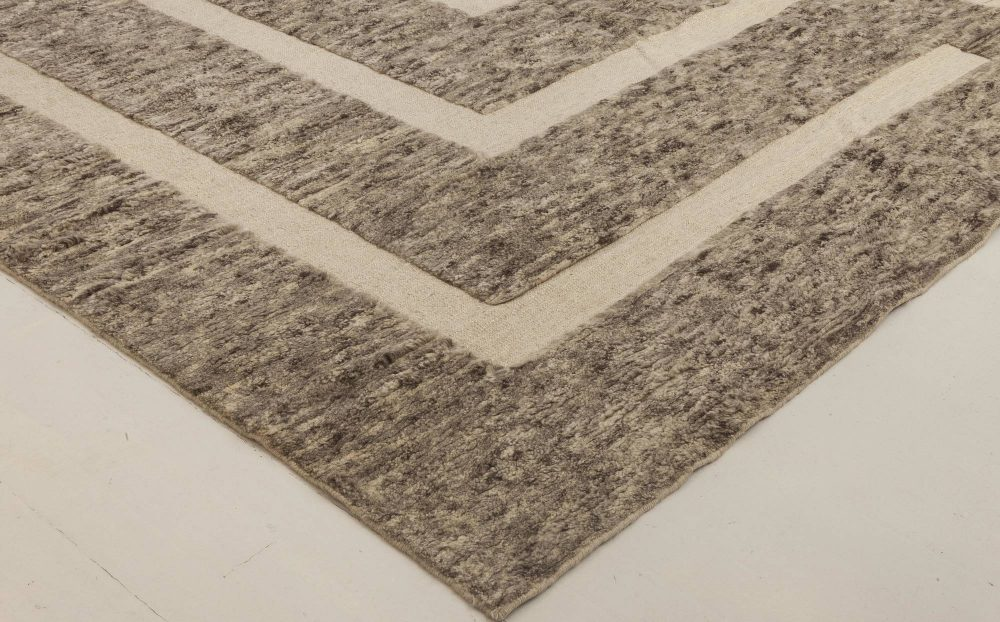 Modern Gray, Brown & Beige Monumental II Geometric Carpet N11806