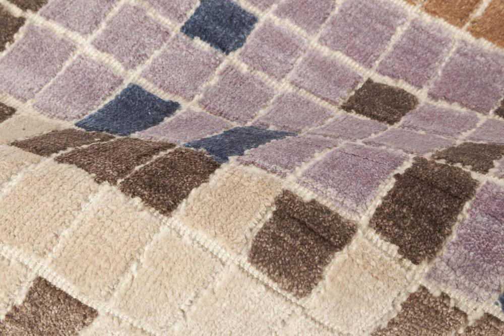 Pool Tile Rug in Orange, Ivory, Brown, Blue, and Lavender N11787