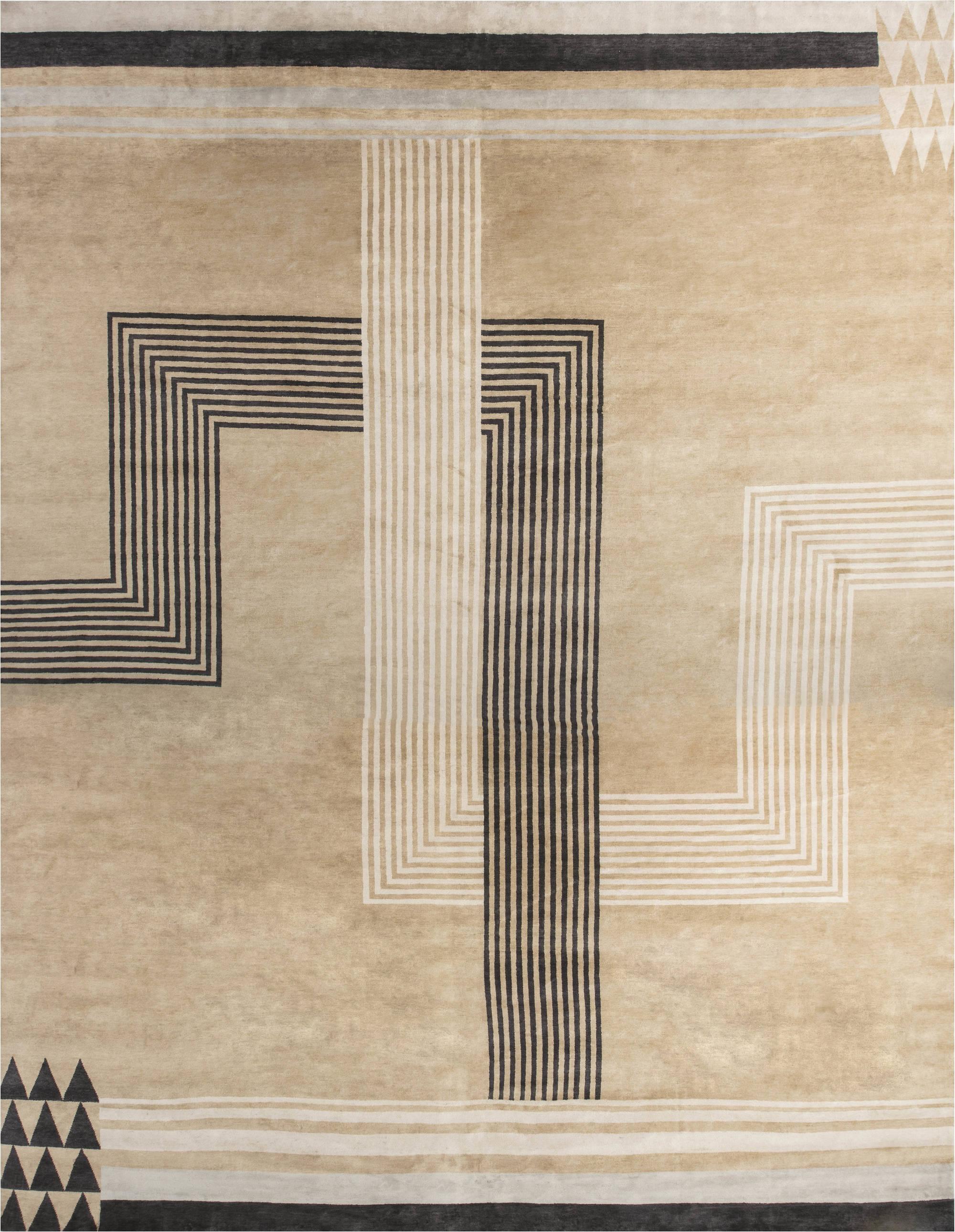 Oversized Marion Dorn Inspired Deco Geometric Rug N11819