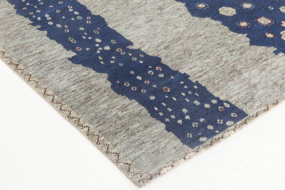 Navy Blue and Gray Flen Swedish Inspired Wool Pile Rug N11815