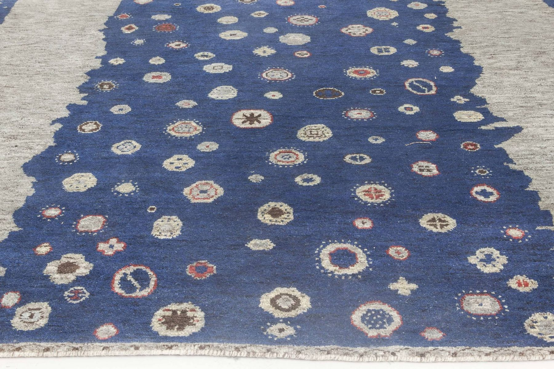 Navy Blue and Gray Flen Swedish Inspired Wool Pile Rug N11815