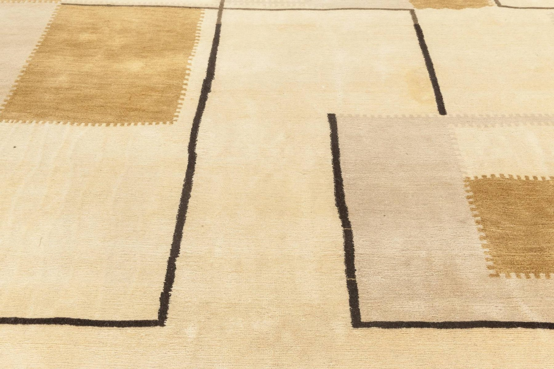 Contemporary Art Deco Inspired Beige, Brown and Gold Rug N11818