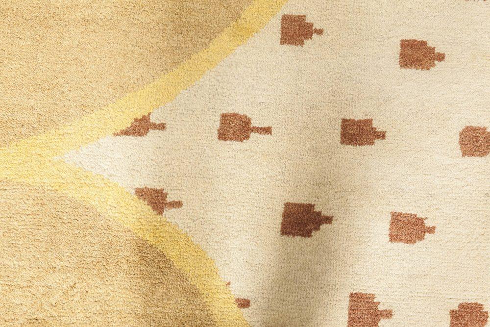 Oversized Arvika Art Deco Yellow, Brown and Beige Wool Rug N11817