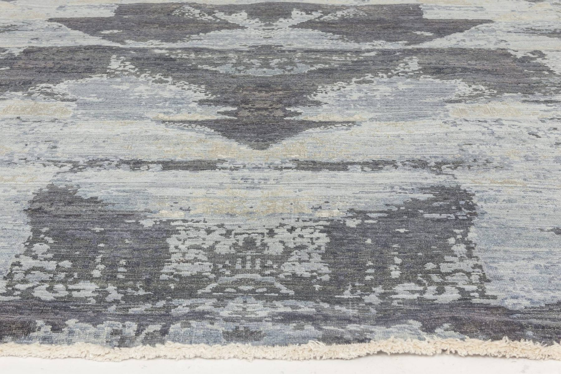 Braque Abstract Geometric Blue and Gray Hand Knotted Wool Rug N11758