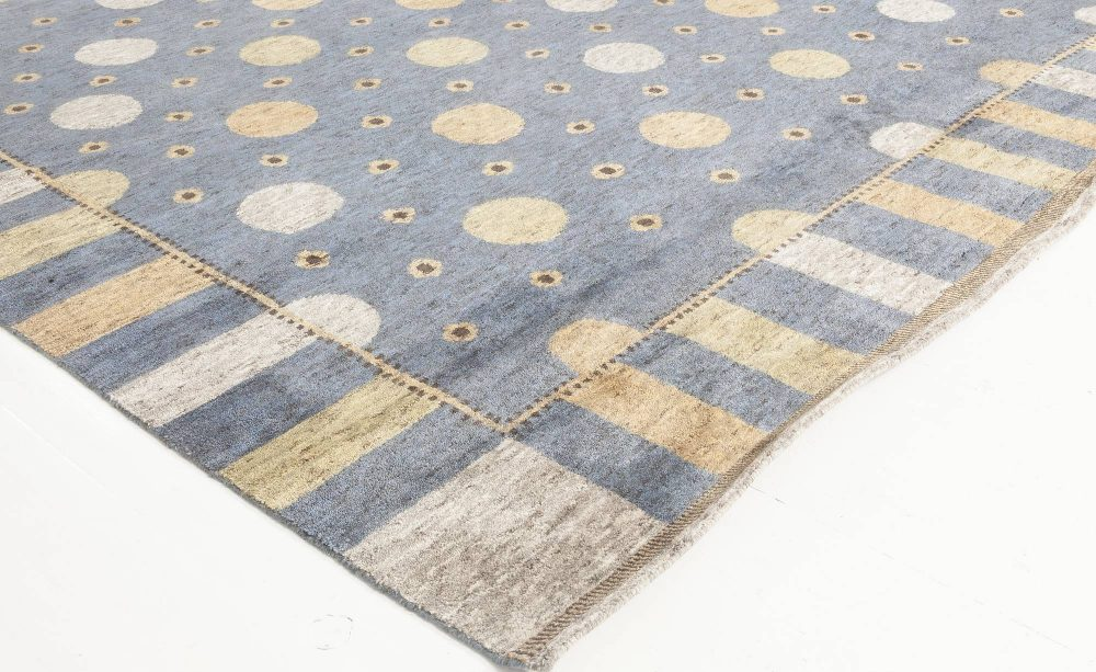 Solna Swedish Inspired Pile Navy Blue, Gray and Beige Rug N11816