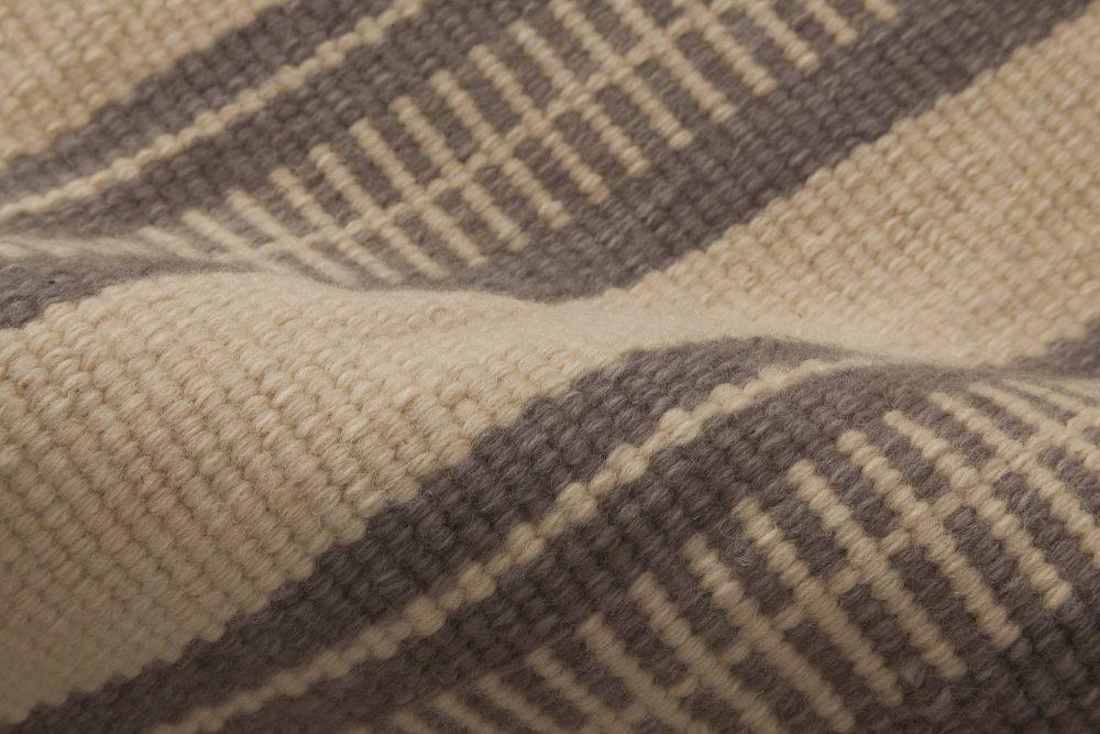 Modern Striped Brown and Beige Flat-Weave Wool Rug N11795