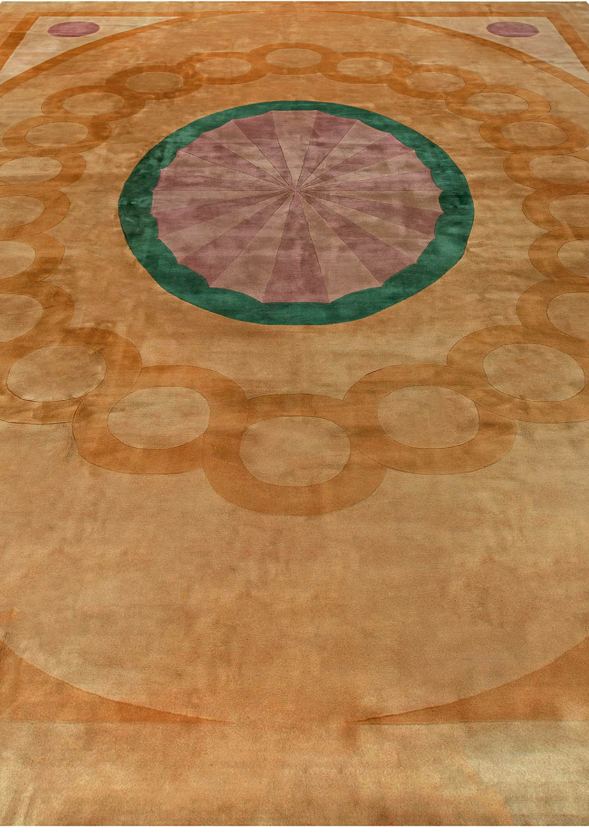 Vintage Chinese Yellow, Lilac and Dark Green Decorative Area Rug BB6820