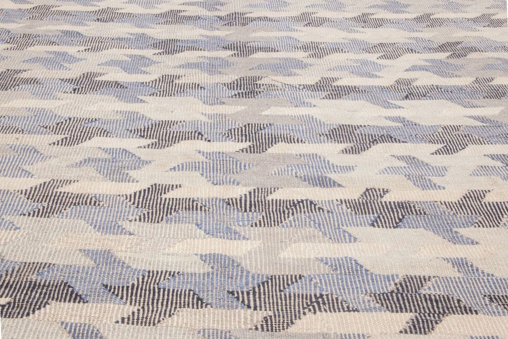 Contemporary Peregrine Gray and Steel Blue Hand-knotted Wool Rug N11782