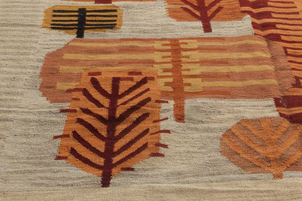 Swedish Design Beige, Red and Orange Flat-Weave Wool Rug N11624