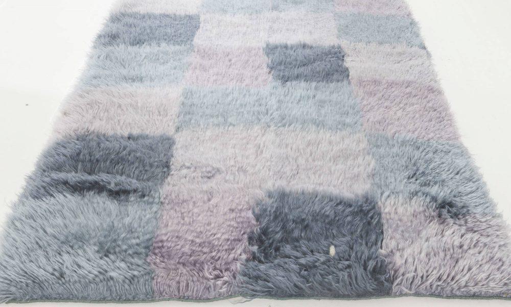 Contemporary Bluebell Swedish Rya Wool Rug N11822