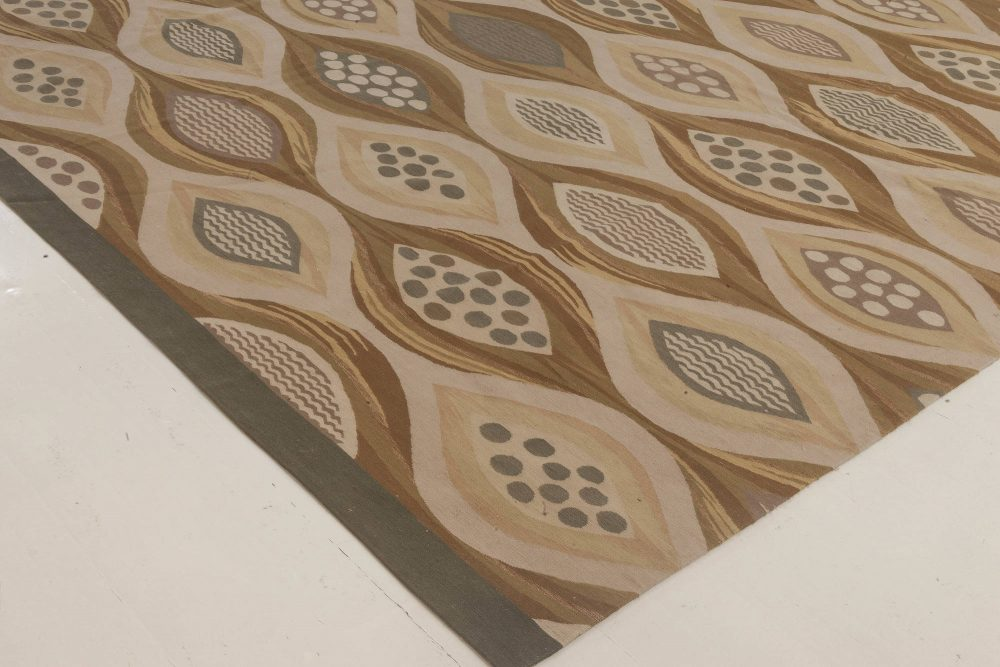 Oversized Swedish Design Beige and Brown Hand Knotted Wool Area Rug N11805