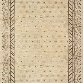 Contemporary Samarkand Beige and Black Hand Knotted Wool Rug N11777