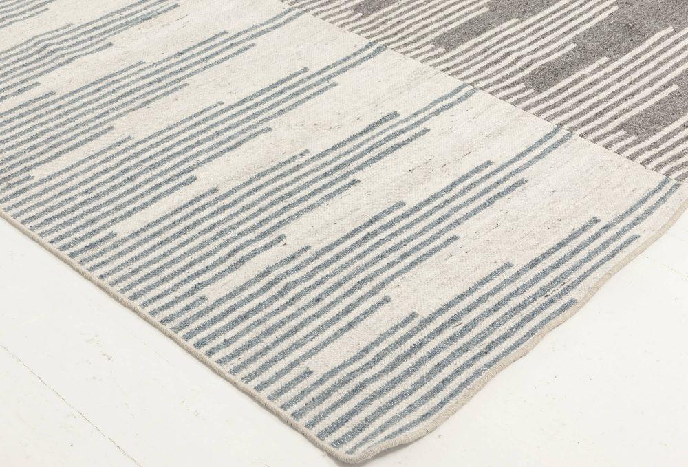 Modern Geometric Blue, Gray and White Flat-Woven Wool Rug N11856
